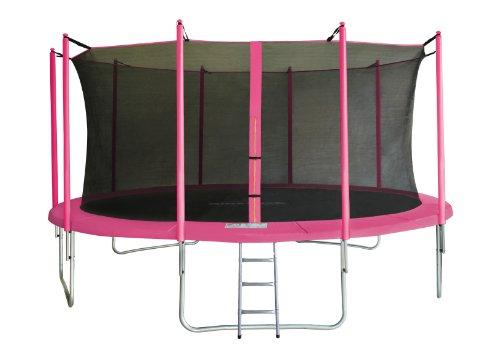 SixBros. SixJump 4,60 M Gartentrampolin Pink Trampolin Intertek / GS geprüft - Leiter - Sicherheitsnetz - Wetterplane - CST460/L1803