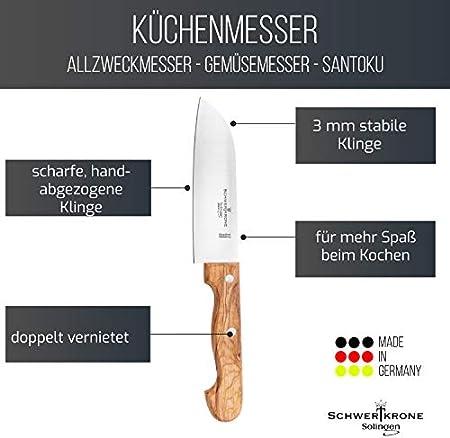 Schwertkrone Santoku - Cuchillo Santoku para carne (mango de madera de olivo, 15,2 cm)