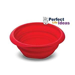 Perfect Life Ideas Silicone Collapsible Colander Spaghetti Strainer Mesh Drainer for Food Pasta Vegetables Fruit - Space Saving Design Folds Down Flat for Storage - Durable Dishwasher Safe from Perfect Life Ideas
