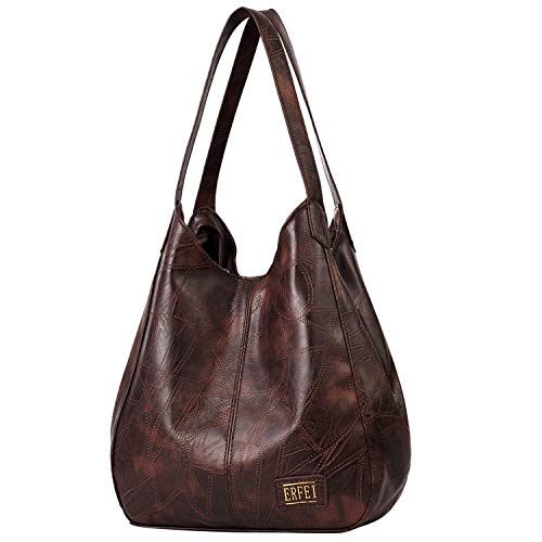 Pocket Large Hobo Handbag - Shoulder Bags for Women Soft Leather Hobo Bags 3 Compartment Large Capacity Handbag Multiple Pocket Tote Bagulder Bags Multiple Pocket Tote Bags Purse,Coffee