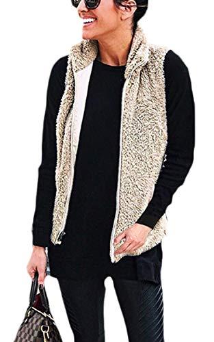 Spec4Y Damen Weste Schafwolle Winter Jacke Waistcoat Stehkragen Warm Outwear Plüsch Ärmelos Kleidertasche Stehkragen Lässige Kunst Zip Up Pelzjacke Coat
