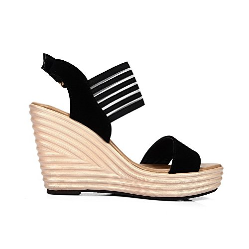 AmoonyFashion Womens Frosted Open Toe High Heels Buckle Solid Sandals Black BusOvfWR