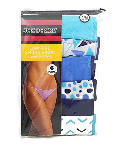 Joe Boxer Women's 6-Pack Low Rise String Bikini Panties (8, Blue/Teal)