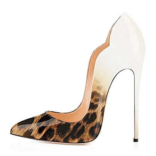 Bianco col Scarpe Leopardo Tacco Scarpe Scarpe col Tacco Classiche da Donna E qtfwrPt