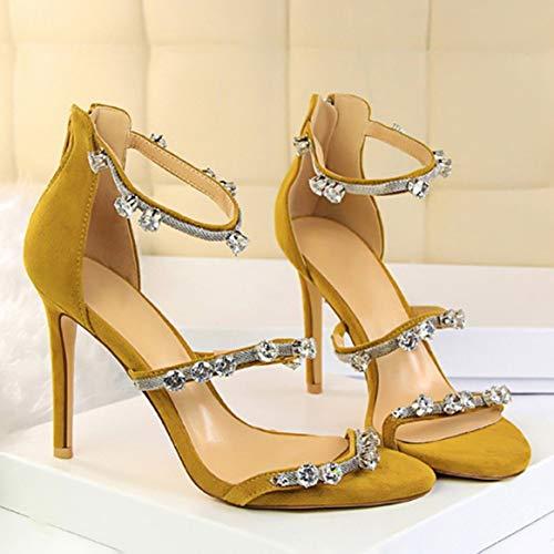 Party Toe Exquisito Cristal Open Heel Shoes 9 Superior De Con Las Gamuza Thin Mujeres Zapatos Pub Cm Moda Lady 5 Amarillo Incrustaciones Alto 38 Tacón ARWnqBHwHx