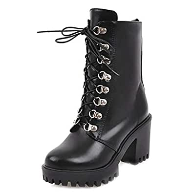 RizaBina Women Fashion Lace Up Martin Boots Platform Short Boots Block Heels School Shoes Black Size 33 Asian