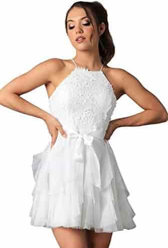 92a77f4f80 Teeze Me Juniors Sleeveless Halter Soutache Top Glitter Mesh Ruffle Dress