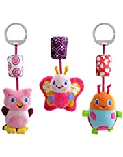 3pcs animal Infant Toys Plush Bed Wind Chimes Rattles Bell Toy Stroller for Newborn (Butterfly. Beetle. Owl )
