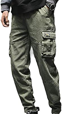Comaba Mens Multi-Pockets Casual Hiphop Dance Cotton Rip Stop Trouser