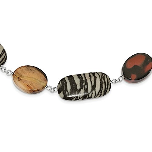Necklace Zebra Jasper - Best Designer Jewelry Sterling Silver Carnelian & Zebra Jasper Necklace