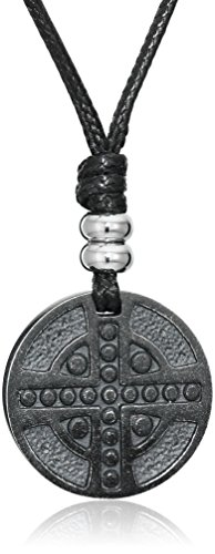 Cross Medallion Pendant - Men's Stainless Steel Cross Medallion Pendant with Black on Leather Cord, 20