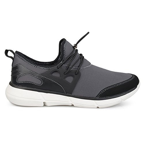 Territory Mens Reemo Genuine Leather Suede Elastic Quick Lace Casual Athleisure Sneakers Grey etDZO