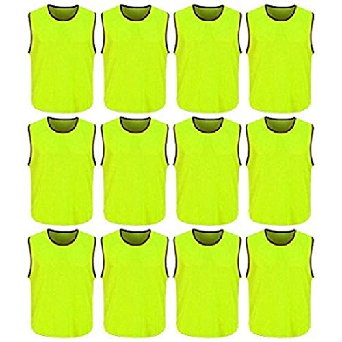 4Active Soccer Training Pinnies | Scrimmage VestsJersey | Sports Bibs (NEON Green, Adult) (Sports Bib Hockey)