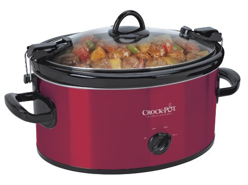 CrockPot 6Quart Cook amp Carry Oval Manual Portable Slow Cooker Red