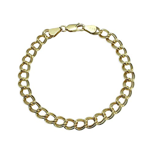 Yellow Gold Flashed Sterling Silver 6mm Italian Double Link Chain Bracelet for Charms, 7 Inches Double Link Yellow Bracelet