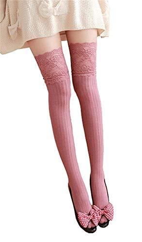 - Zelta Women's Lace Top Over the Knee Socks Stocking Knee-High Hosiery Soft Cotton (Reddish Orange)