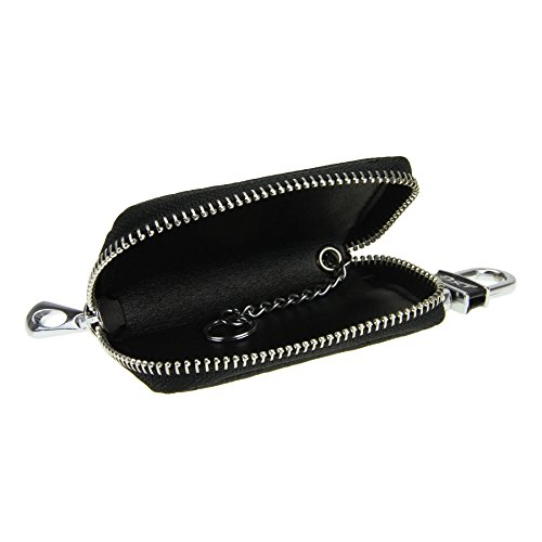 Fakeface Unisex Mens Womens Luxury Delicate Crocodile Genuine Leather Key Pouch Bag Solid Color Zipper Universal Car Smart Key Case Holder Coin Purse Wallet Key Ring Hook Keychain Tags