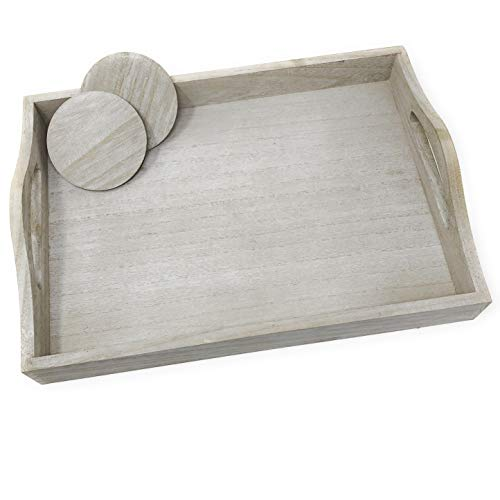 (Perimeter Line Small Ultra Lightweight Wood Coffee Table Decor Tray - Rustic Gray with 2)