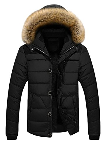 Hot Black Brd Mens Puffer Quilted Faux Hoodie Fur UK Winter Jacket Warm Down rfr7xqCw