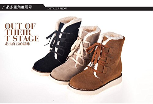 Gaorui women ladies winter lace up boots mid calf snow boots fur lined boots warm ankle boots martin boots flat heel Brown O8wEC