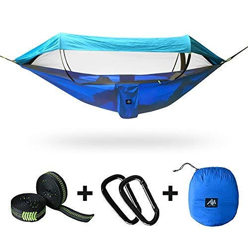 [3 IN 1] Camping Hammock for 2/Double Person with Mosquito Net & Sunshade Cloth & Tree Strap,AYAMAYA Portable Parachute Nylon Lightweight Big Pop Up Swing with Bug/Insect Netting for Backpacking Sleep [並行輸入品] B07R4VYM9M