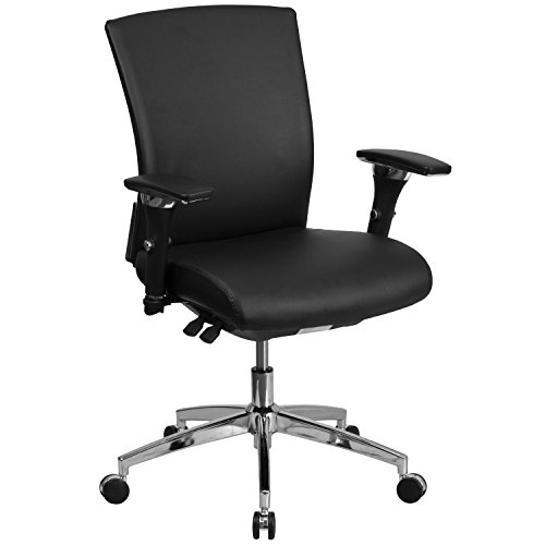 Flash Furniture HERCULES Series 24/7 Intensive Use 300 lb. Rated Black Leather Multifunction Executive Swivel Chair with Seat Slider