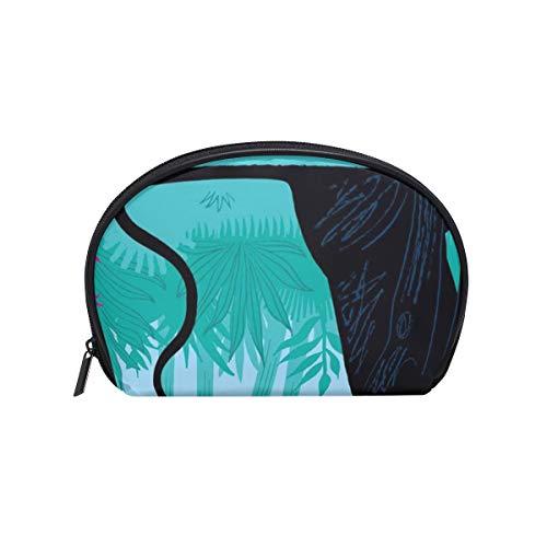 Makeup Cosmetic Bag Jungle Animal Panther Fun With Peacock with -