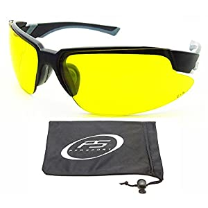 Yellow sunglasses with Safety rated Z87.1 Polycarbonate lenses