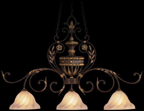Castile 3 Light (Fine Art Lamps 237140, Castile Blown Glass Cone Pendant, 3 Light, 300 Total Watts, Gold Leaf)