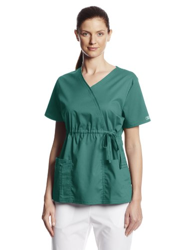 - Cherokee Women's Workwear Scrubs Core Stretch Gathered Front Mock Wrap Top, Hunter, 3X-Large