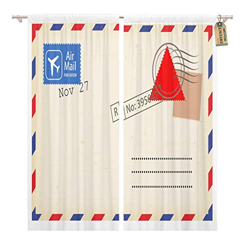 Golee Window Curtain Old Airmail Back Border Post Send Stamp Blank Home Decor Rod Pocket Drapes 2 Panels Curtain 104 x 84 inches -