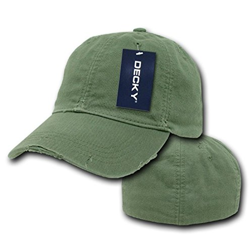 DECKY Vintage Fitted Polo Cap, Military Green, Large