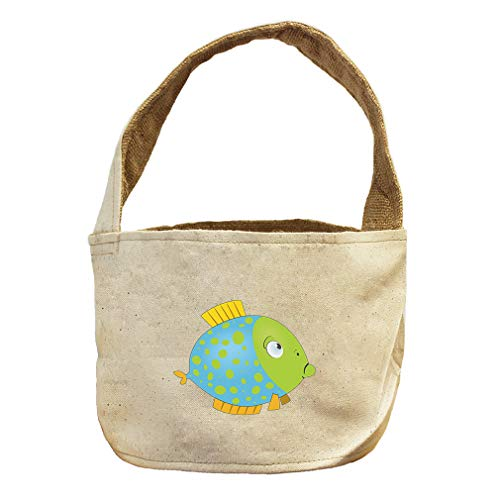 Style in Print Round Fish Blue Green Animals Canvas and Burlap Storage Basket by Style in Print