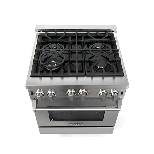 Cosmo GRP304 30 in. Freestanding/Slide-in Gas Range with 4 Sealed Burner Rangetop, Rapid Convection Single Oven, Heavy… 3