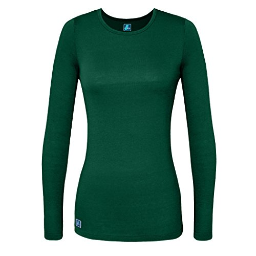 Adar Womens Comfort Long Sleeve T-Shirt Underscrub Tee - 2900 - Hunter Green - XL