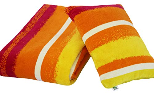 Lazy Lizard Resort Style Pool Pillow and Beach Towel (Radiant Rainbow Towel with Tropical Sunset Pillow)