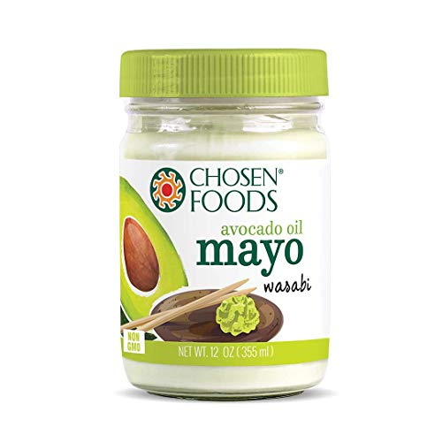 Chosen Foods Avocado Oil Wasabi Mayo 12 oz., Non-GMO, Gluten Free, Dairy Free for Sandwiches, Dressings and Sauces