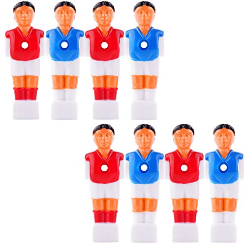 (YINASI 8pcs Soccer Foosball Replacements, Foosball Man Table Guys Man Soccer Player Part Blue and Red, 4.2inch)