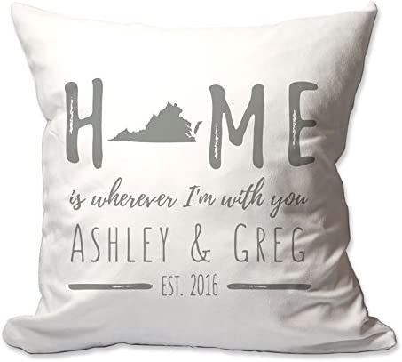 Pattern Pop Personalized Virginia Home is Wherever I m with You Throw Pillow