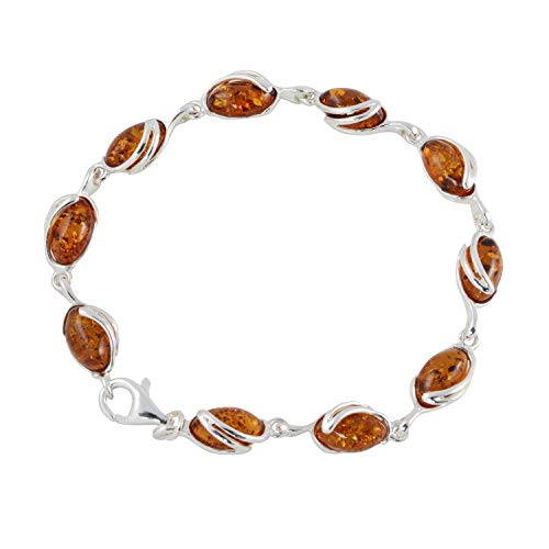HolidayGiftShops Sterling Silver Honey Baltic Amber Bracelet - Honey Sterling Amber Bracelet Silver