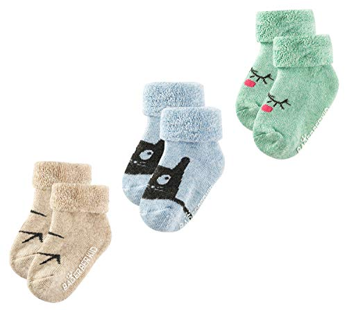 Growth Pal 3 Pack Thick Cotton Colorful Socks for Baby Toddlers Boys 0-3 Years