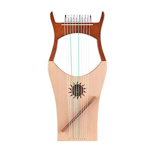 Festnight Lyre 10-String Wooden Harp Musical Instrument with Carry Bag