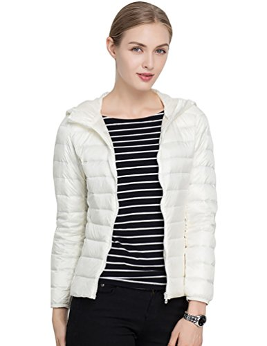 Ultra Coat Puffer CHENGYANG White Packable Jacket Winter Weight Down Light Women's Hooded Quilted Short xtTTXwIf
