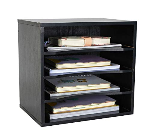 PAG Office Supplies Desk Organizer Wood File Mail Sorter with 3 Adjustable Drawer Boards,Black
