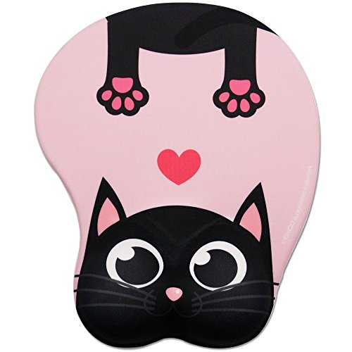 Cute Cat Pad-EXCO Colorful Pink Cute cat Mouse Pad with Wrist Support Ergonomic Mouse Pad with Comfortable Gel Wrist Support,Non-Slip PU Base for Computer