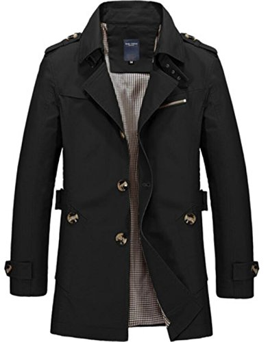 Windbreaker Black MU2M Slim Down Collar Turn Mens Fit Trench Breasted Coat Single nqAWnF6