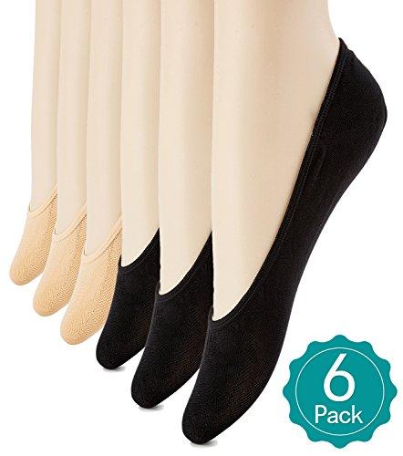 6 Pairs Women's No Show Socks Ultra Low Cut Casual Socks Non Slip No Show Liner Socks Black/Beige