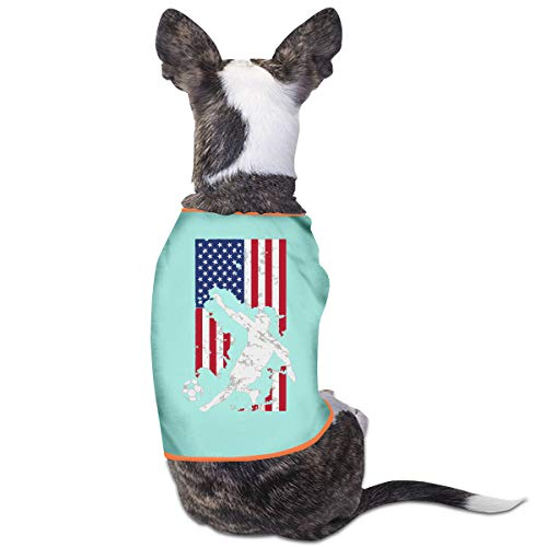 LNUO-2 Pet T-Shirts, American Flag USA Soccer Player Dog Cat Shirt Clothes Vest -