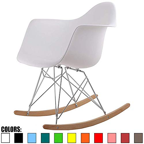 2xhome Single White Mid Century Modern Designer Molded Shell Designer Plastic Rocking Chair Chairs Armchair Arm Chair Patio Lounge Garden Nursery Living Room Rocker Replica Decor Furniture Bedroom