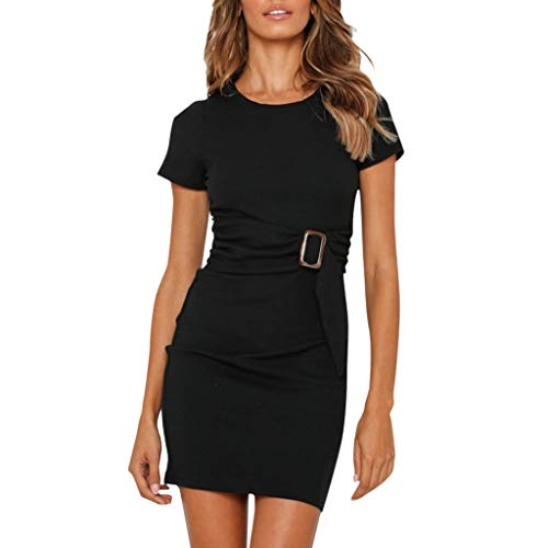 CCOOfhhc Women's Dresses Casual Short Sleeve Party Bodycon Sheath Belted Dress Solid Color Hem Pleated Dress ()